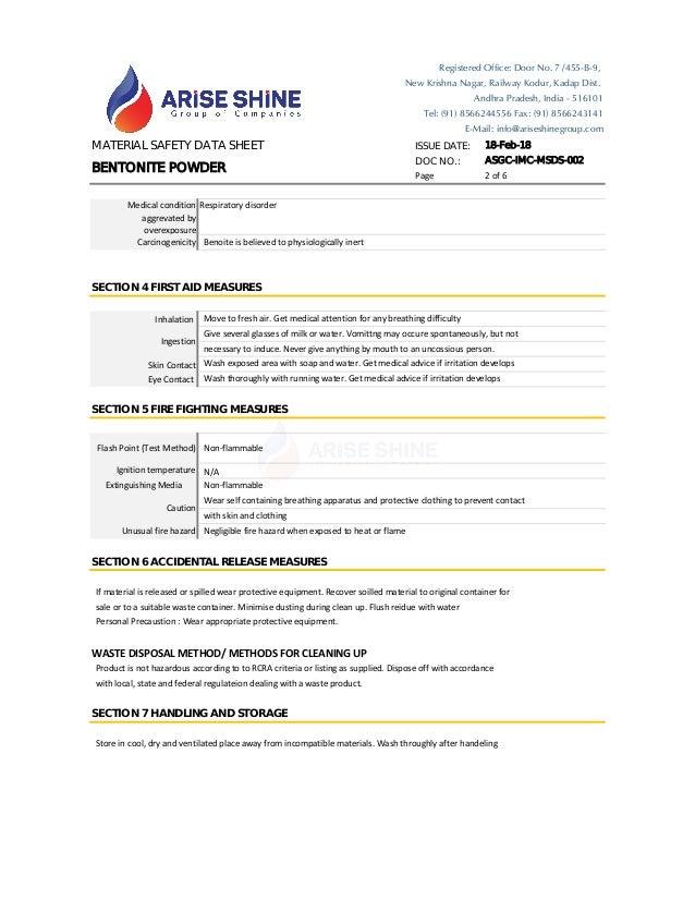 Bentonite MSDS ASGC-IMC-MSDS-002