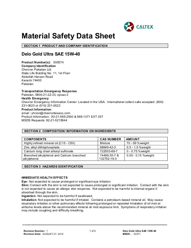 msds delo gold ultra sae 15 w 40
