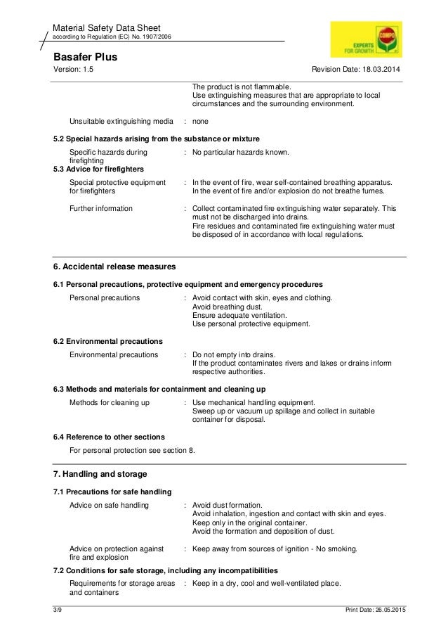 Basafer Plus Version: 1.5 Revision Date: 18.03.2014 3/9 Print Date: 26.05.2015 Material Safety Data Sheet according to Reg...