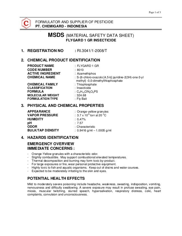 Spray Paint Msds Sheets Part - 44: Page 1 Of 3 FORMULATOR AND SUPPLIER OF PESTICIDE PT. CHEMIGARD - INDONESIA  MSDS ...