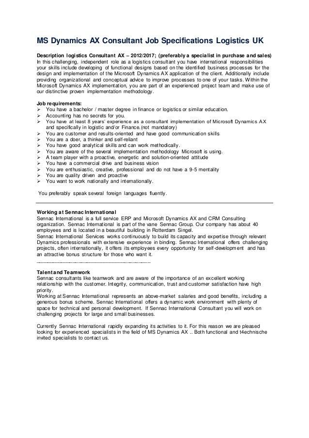 Ms Dynamics Ax Logistical Consultant Job Specificaties Logistics Uk