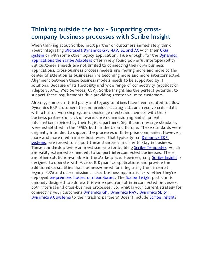 Thinking outside the box – Supporting cross-company business processes with Scribe InsightWhen thinking about Scribe, most...