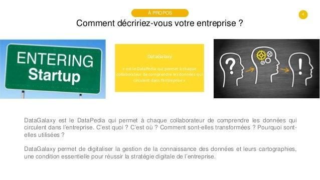 4 Comment décririez-vous votre entreprise ? À PROPOS DataGalaxy « est le DataPedia qui permet à chaque collaborateur de co...