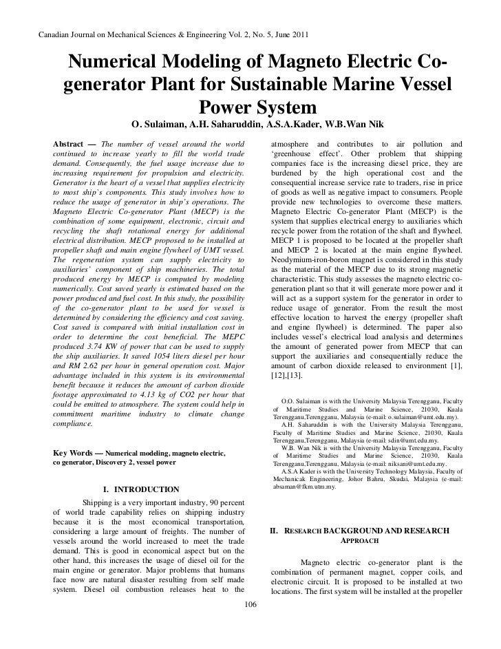 Canadian Journal on Mechanical Sciences & Engineering Vol. 2, No. 5, June 2011       Numerical Modeling of Magneto Electri...