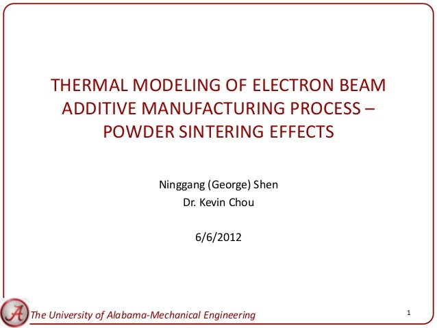 THERMAL MODELING OF ELECTRON BEAM     ADDITIVE MANUFACTURING PROCESS –         POWDER SINTERING EFFECTS                   ...