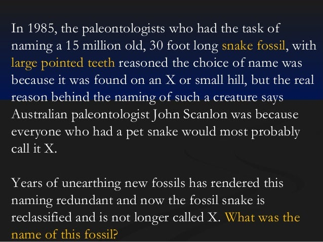 In 1985, the paleontologists who had the task of naming a 15 million old, 30 foot long snake fossil, with large pointed te...