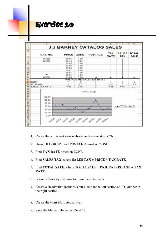 Ms excel excersices – Sales Tax Worksheets