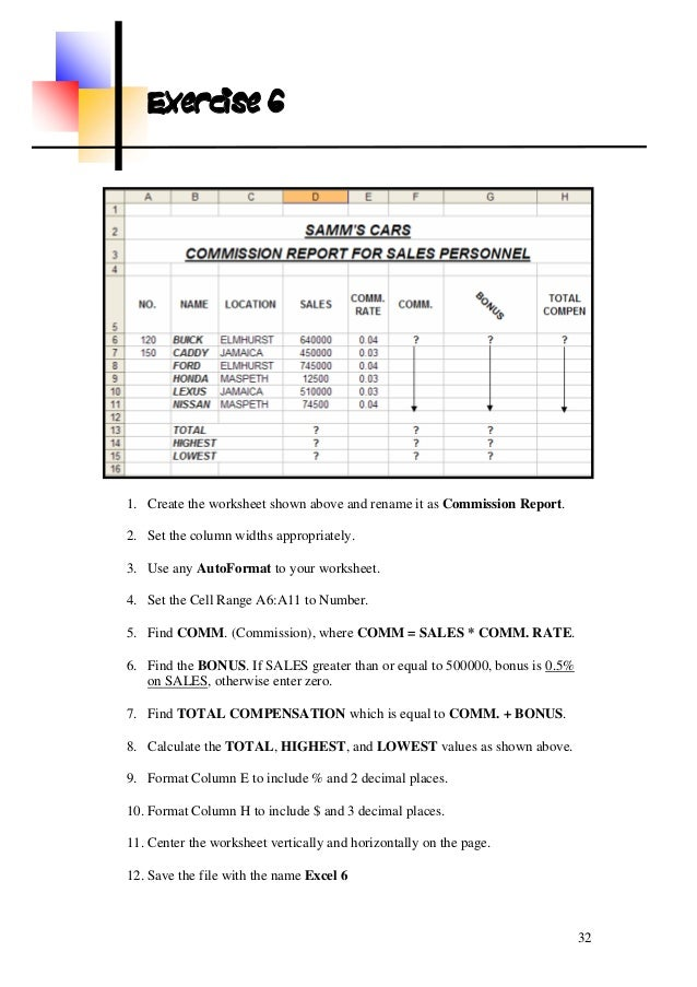 ms excel exercise