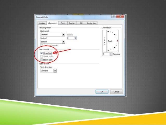MS OFFICE 2003: 1. Маркираме необходимите  клетки 2. Меню Format  Cells  раздел Alignment  Text control  отметка на Sh...
