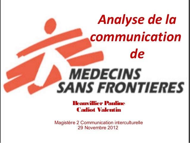 Analyse de la                communication                      de        Beauvillier Pauline         Cadiot ValentinMagis...