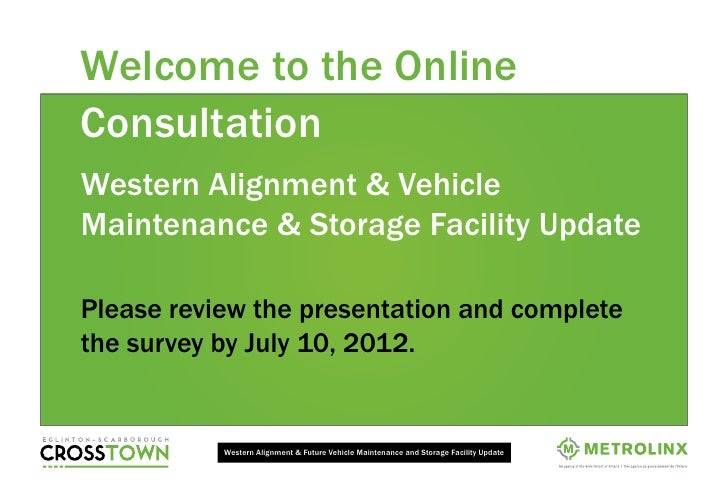 Welcome to the OnlineConsultationWestern Alignment & VehicleMaintenance & Storage Facility UpdatePlease review the present...