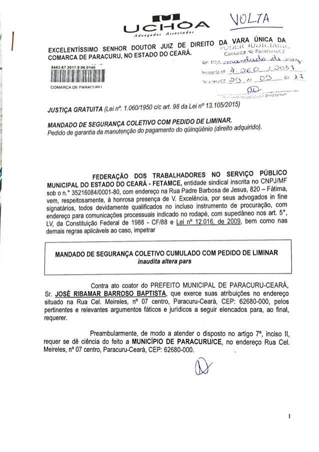 Mandado de segurança coletivo da Federação dos Trabalhadores no Serviço Público Municipal do Estado do Ceará, como represe...