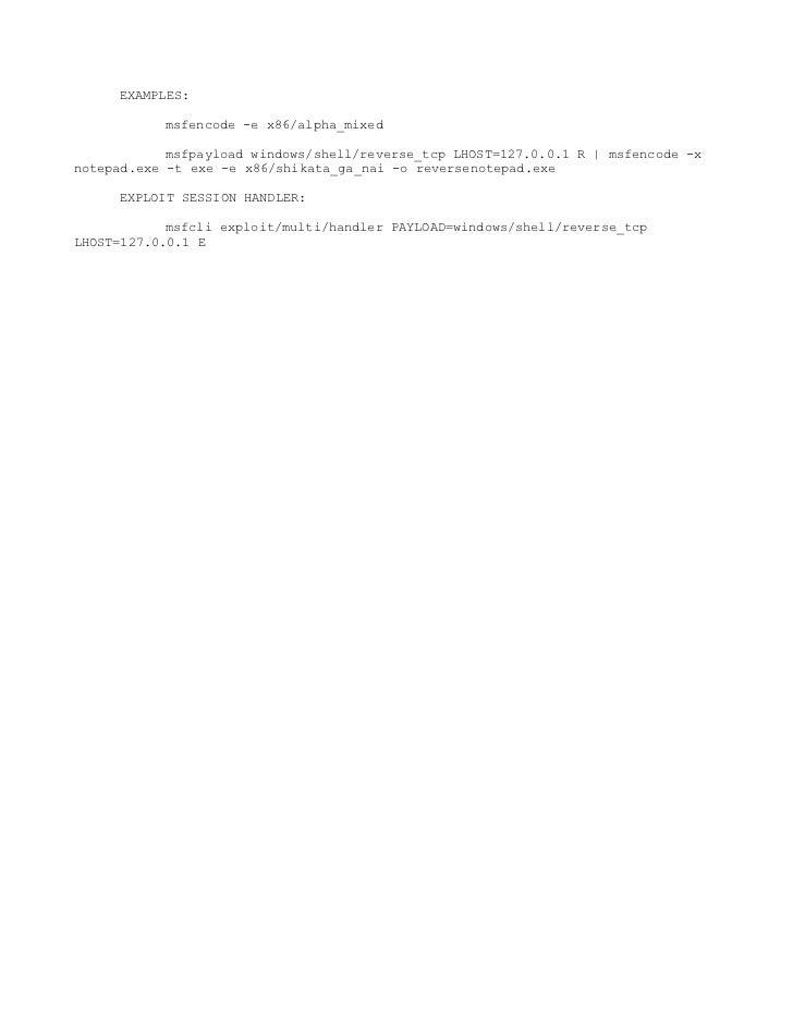 Msfpayload/Msfencoder cheatsheet