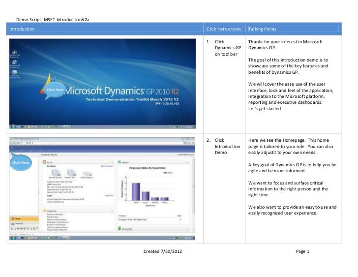Demo Script: MSFT-IntroductionV2aIntroduction                                               Click Instructions   Talking P...