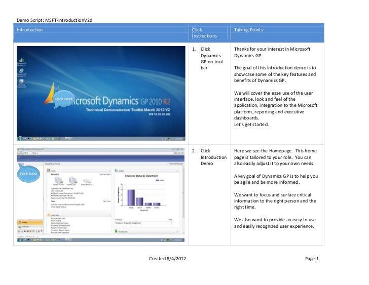 Demo Script: MSFT-IntroductionV2dIntroduction                                           Click             Talking Points  ...