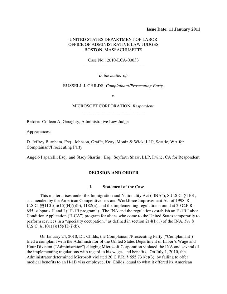 Issue Date: 11 January 2011 UNITED STATES DEPARTMENT OF LABOR ...
