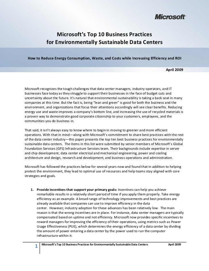 Microsoft's Top 10 Business Practices               for Environmentally Sustainable Data Centers    How to Reduce Energy C...