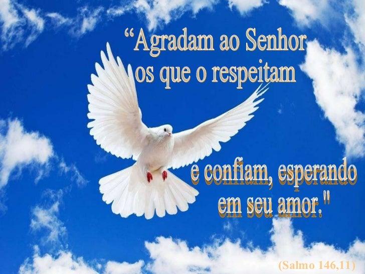 """(Salmo 146,11) """"Agradam ao Senhor  os que o respeitam e confiam, esperando  em seu amor."""""""