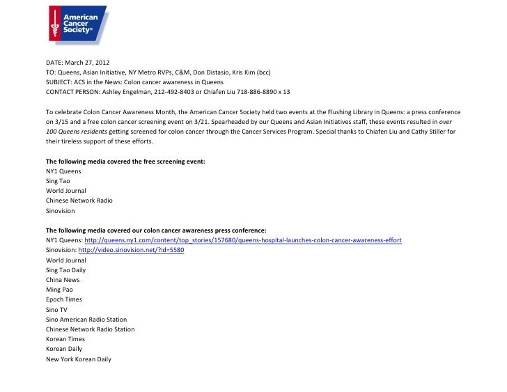 DATE: March 27, 2012TO: Queens, Asian Initiative, NY Metro RVPs, C&M, Don Distasio, Kris Kim (bcc)SUBJECT: ACS in the News...