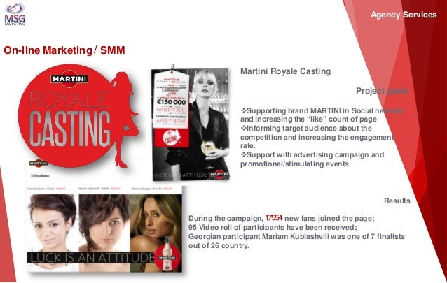 On-line Marketing / SMM Martini Royale Casting Project goals  Supporting brand MARTINI in Social network and increasing t...
