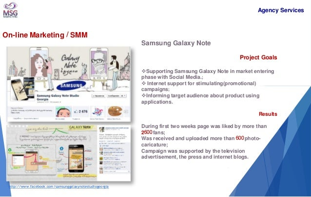 On-line Marketing / SMM  Samsung Galaxy Note Project Goals  Supporting Samsung Galaxy Note in market entering phase with ...