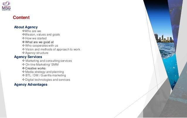 სააგენტოს შესახებ  Content  About Agency  Who are we  Mission, values and goals   How we started   What are we good at...
