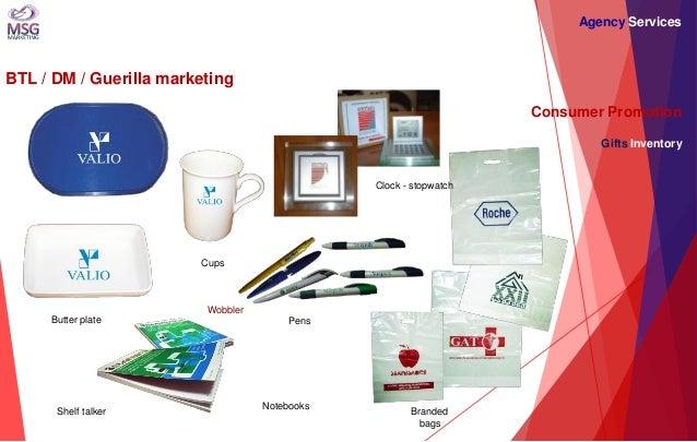 BTL / DM / Guerilla marketing  Consumer Promotion Gifts Inventory  Wobbler  Shelf talker  Butter plate  Pens  Branded bags...
