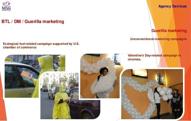BTL / DM / Guerilla marketing  Guerilla marketing Unconventional marketing campaigns  Ecological fuel-related campaign sup...