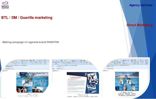 BTL / DM / Guerilla marketing  Direct Marketing  Mailing campaign of cigarette brand WINSTON  Agency Services