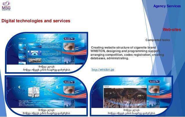 Digital technologies and services  Web-sites  Completed tasks Creating website structure of cigarette brand WINSTON, desig...