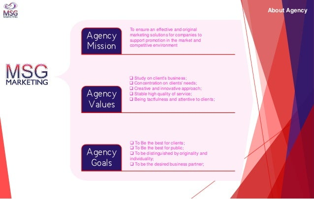 About Agency  Agency Mission  Agency Values  Agency Goals  To ensure an effective and original marketing solutions for com...