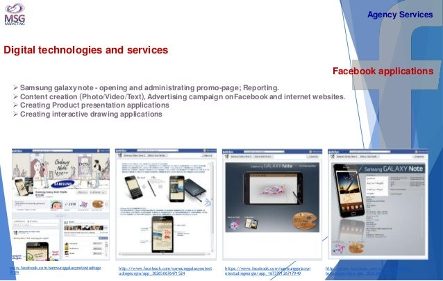 Digital technologies and services  Facebook applications   Samsung galaxy note - opening and administrating promo-page; R...