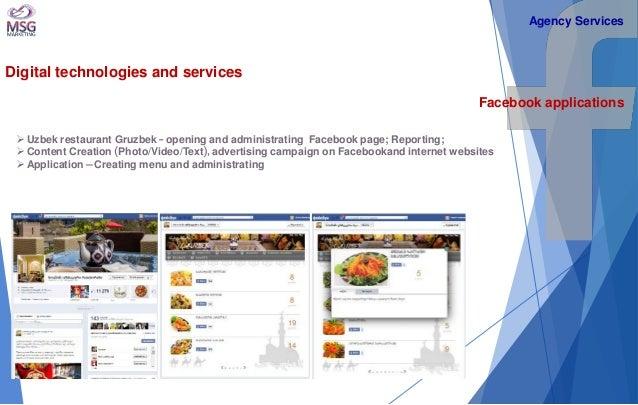 Digital technologies and services  Facebook applications   Uzbek restaurant Gruzbek - opening and administrating Facebook...