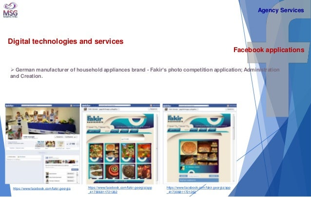 Digital technologies and services  Facebook applications   German manufacturer of household appliances brand - Fakir's ph...