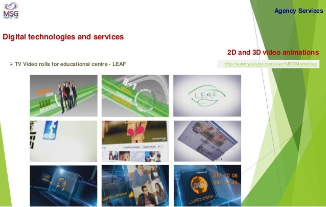 Digital technologies and services  2D and 3D video animations   TV Video rolls for educational centre - LEAF  Agency Serv...