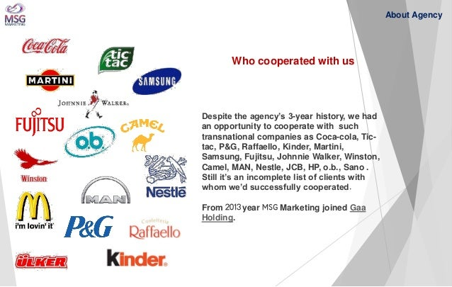 Despite the agency's 3-year history, we had an opportunity to cooperate with such transnational companies as Coca-cola, Ti...