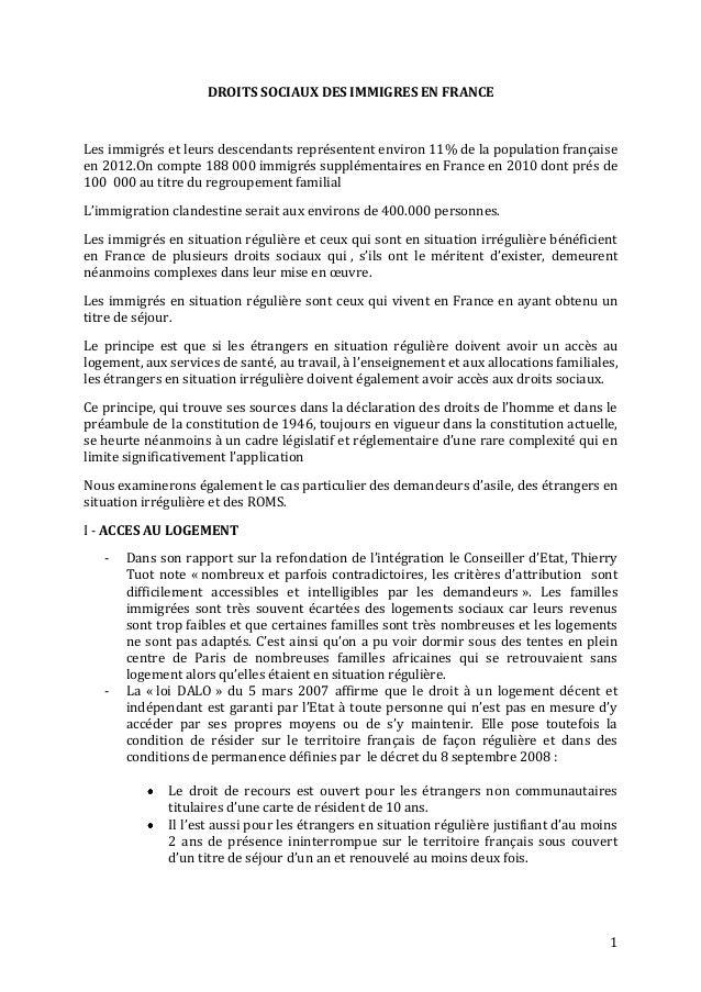 DROITS SOCIAUX DES IMMIGRES EN FRANCELes immigrés et leurs descendants représentent environ 11% de la population française...