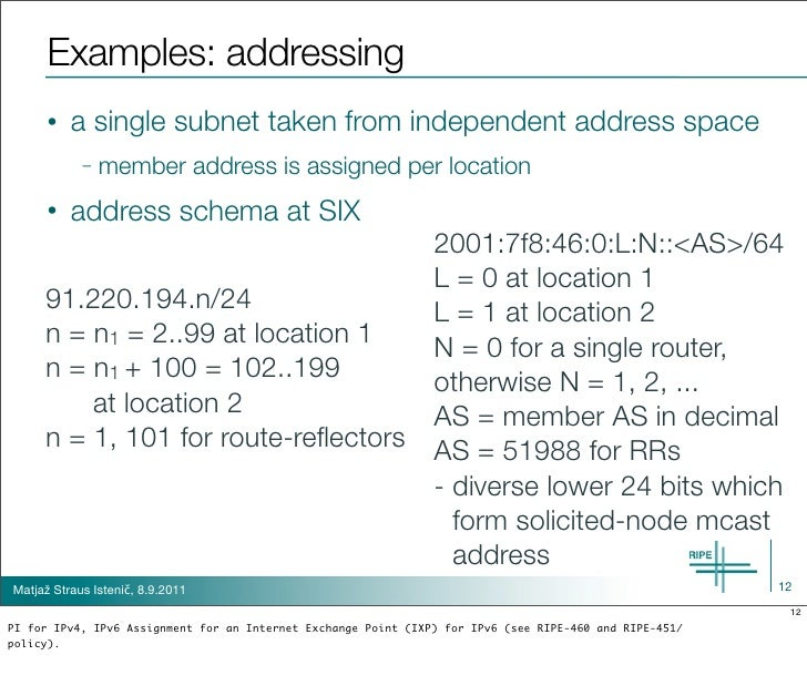 Examples: addressing      •   a single subnet taken from independent address space            –   member address is assign...
