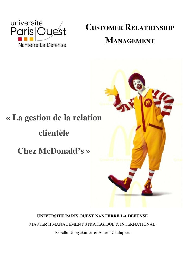 CUSTOMER RELATIONSHIP                                          MANAGEMENT     « La gestion de la relation          clientè...