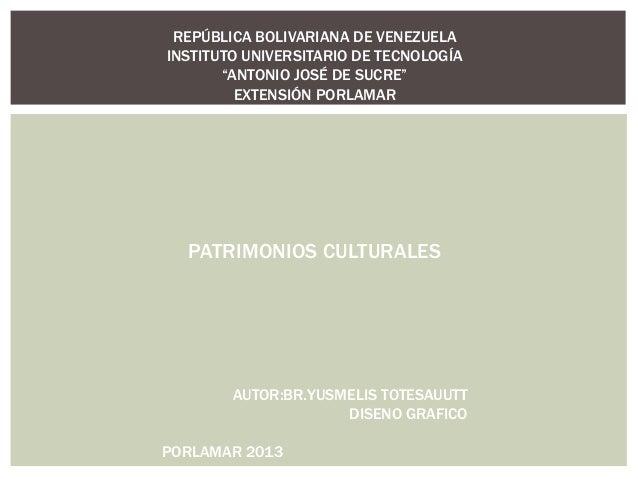 """REPÚBLICA BOLIVARIANA DE VENEZUELAINSTITUTO UNIVERSITARIO DE TECNOLOGÍA       """"ANTONIO JOSÉ DE SUCRE""""         EXTENSIÓN PO..."""