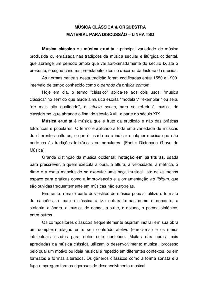 M sica cl ssica ou m sica erudita for Musica classica
