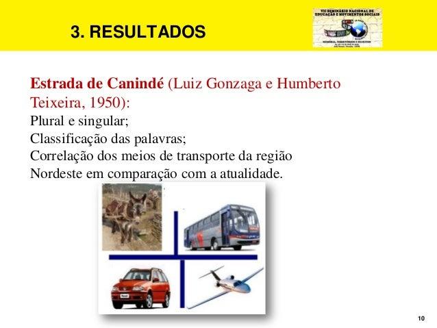 10 3. RESULTADOS Estrada de Canindé (Luiz Gonzaga e Humberto Teixeira, 1950): Plural e singular; Classificação das palavra...