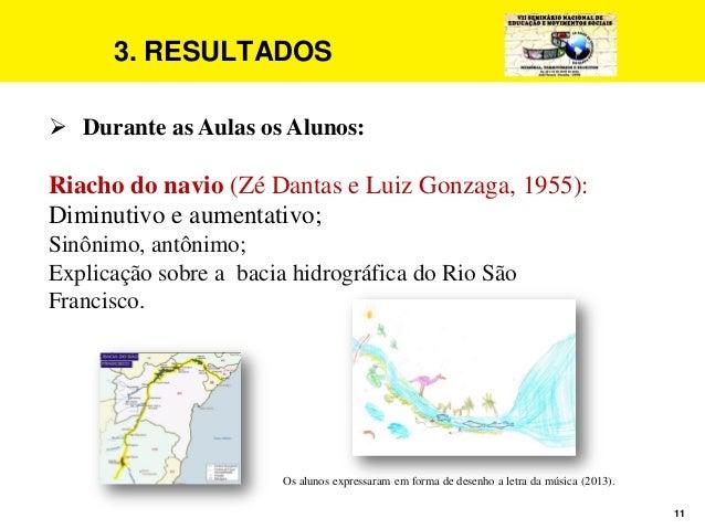 11 3. RESULTADOS  Durante as Aulas os Alunos: Riacho do navio (Zé Dantas e Luiz Gonzaga, 1955): Diminutivo e aumentativo;...