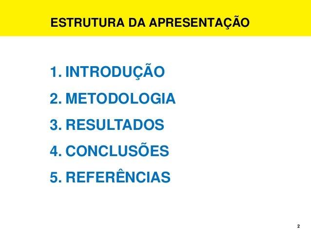 2 ESTRUTURA DA APRESENTAÇÃO 1. INTRODUÇÃO 2. METODOLOGIA 3. RESULTADOS 4. CONCLUSÕES 5. REFERÊNCIAS