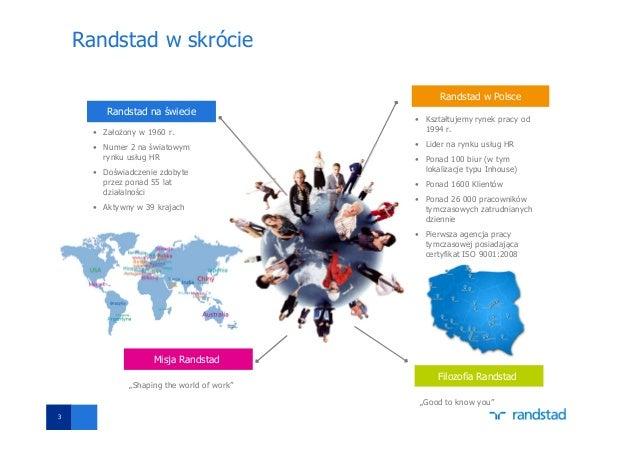 3 Randstad w skrócie Randstad na świecie • Założony w 1960 r. • Numer 2 na światowym rynku usług HR • Doświadczenie zdobyt...