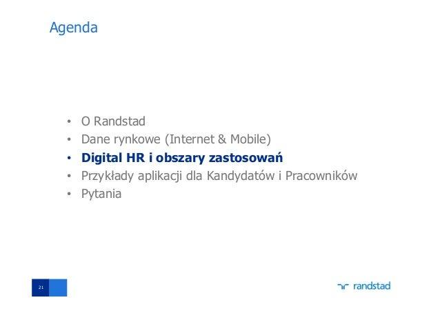 Agenda • O Randstad • Dane rynkowe (Internet & Mobile) • Digital HR i obszary zastosowań • Przykłady aplikacji dla Kandyda...