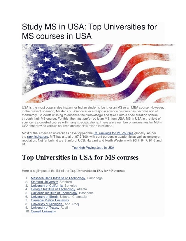 Top Universities In Usa >> Study Ms In Usa Top Universities For Ms Courses In Usa