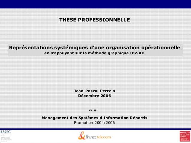 THESE PROFESSIONNELLE Représentations systémiques d'une organisation opérationnelle en s'appuyant sur la méthode graphique...