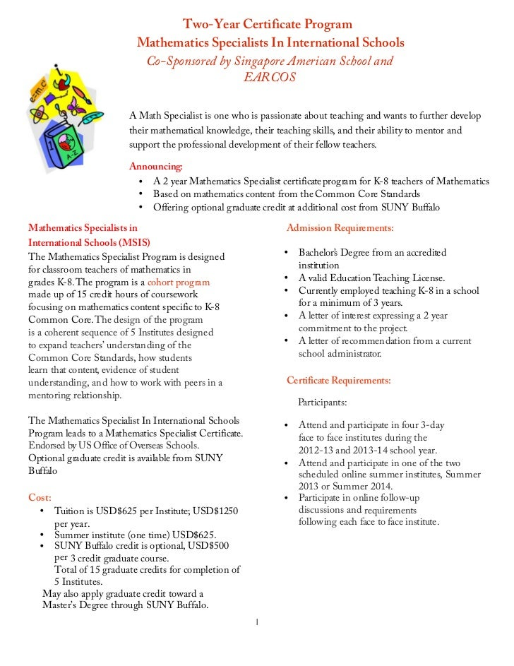 Two-Year Certificate Program                                  Mathematics Specialists In International Schools            ...