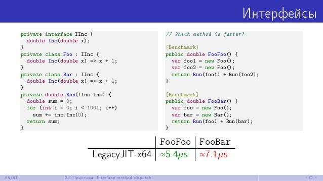 Интерфейсы private interface IInc { double Inc(double x); } private class Foo : IInc { double Inc(double x) => x + 1; } pr...